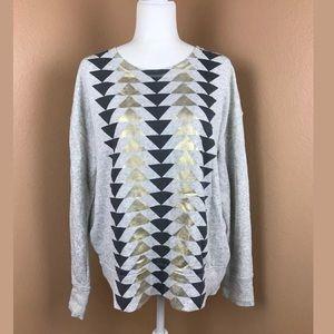 J Crew Gray Metallic Arrow Pullover Sweater